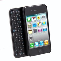 Lighted Sliding Bluetooth Keyboard and Hardshell Case for iPhone 4/4S/4G - Black