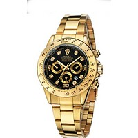 """ROLEX"" Lover Popular Luxury Diamond Quartz Watch Casual Wristwatch Golden Watchband+Black Dial I-YY-ZT"