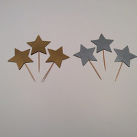 Gold or Silver Star cupcake toppers. Star Party picks, Shimmery Gold star, Shimmery Silver Star; Party decor, Wedding party picks,  Birthday