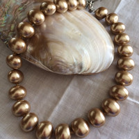 Golden Pearl Majorca Beads Necklace free shipping hand made pearl beads knotted pearl beds necklace Mother's Day Easter birthday gift