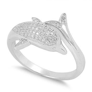925 Sterling Silver CZ Dolphin Ring 14MM