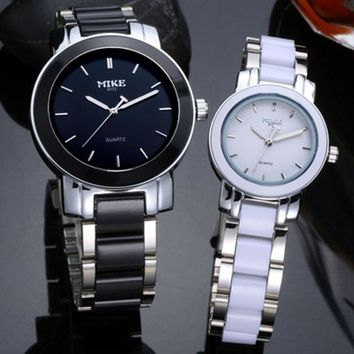 Lovers Ceramic Quartz Watch Women Couple Famous Brand Clock Black White Waterproof Gift Wristwatch High Quality Unisex Watch