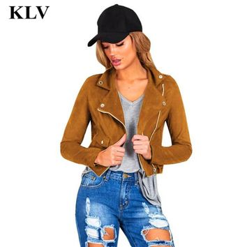 Superyou Fashion Vintage Women Long Sleeve Solid  Biker Motorcycle Leather Lady Casual V-Neck Zipper Jacket Coat Oct20