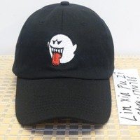 Black Denim Distressed Boo Mario Ghost Dad Cap Hat drake Kanye West fashion CASQUETTE snapback baseball caps