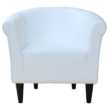 Modern Classic White Faux Leather Upholstered Club Chair   Made