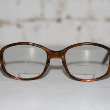 60s Reading Glasses Bausch and Lomb Brown Marble Oval Horn Rimmed Cat eye Eyeglasse Eyewear Frame Boho Hipster Mid Century Punk Rim 50s 70s