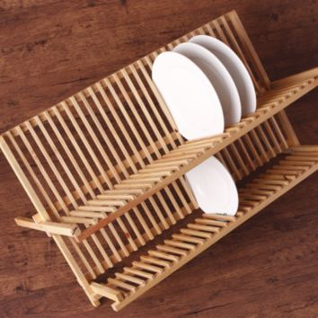 Wooden double layers 2 Tiers Dish Dryer Rack