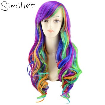 """22"""" Rainbow Colorful Long Curly Cosplay Wig - Synthetic High Temperature Fiber"""