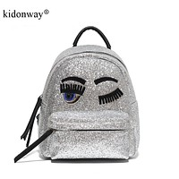 KIDONWAY Luxury Sequin Glitter Bling Backpack for Girls Kids Fashion School Bags Cute Purse Women Mini Backpack with eye patch