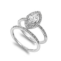 Sterling Silver Engagement Ring Wedding Band Bridal Set Marquise Size 8 (RNG20008-8)