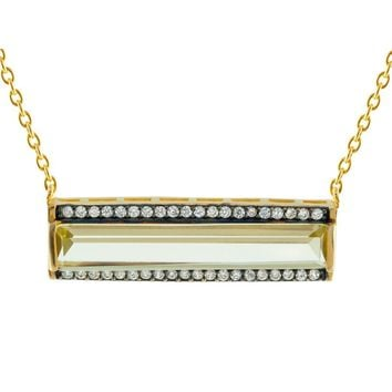 "Silver Gold Plated Horizontal Long Prisma Blue Cz Bar Necklace 16""+2"" Pave Cz Frame"