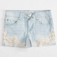 Celebrity Pink Crochet Trim Girls Denim Shorts Light Blast  In Sizes