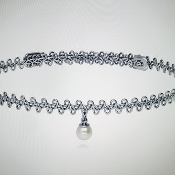 Platinum Woven Choker with Pearl Necklace