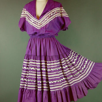 Vintage 60s Ric Rac Patio Dress 1960s Magenta Colorado Casuals Rick Rack Square Dance Silver Metallic