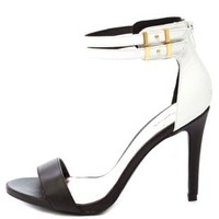 Qupid Color Block Single Strap Heels by Charlotte Russe - Black