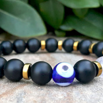 Mens Protection Evil Eye Bracelet, Men's Calming Bracelet, Handpainted Evil Eye Gemstone Beaded Rose Quartz, Citrine, Black Onyx Bracelet