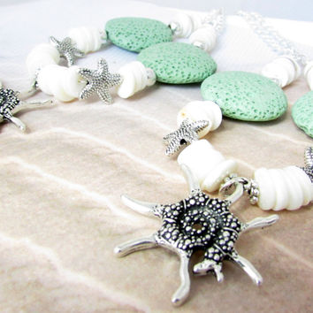 Starfish Curtain Tie Backs, Sea Shell Tiebacks, Beach Decor for Windows, Shell Curtain Ties