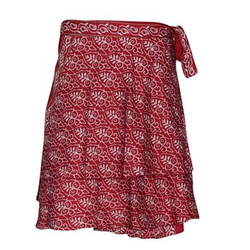 Women's Short Wrap Skirt Red Premium Silk Two Layer Reversible Boho Sari Skirts ... ...
