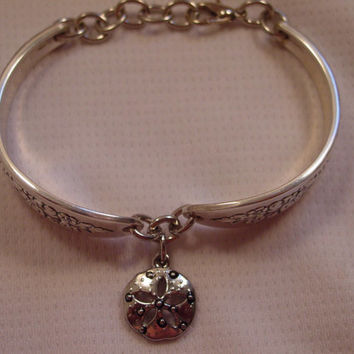 A Lady Stuart Spoon Bracelet With Sand Dollar Charm Vintage Spoon and Fork Jewelry b154