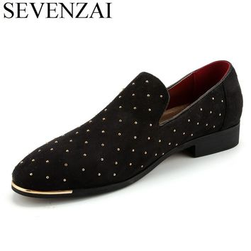 italian elegant slip on suede leather loafer shoes for men studded footwear male spiked fashion unique pointed toe ballet flats