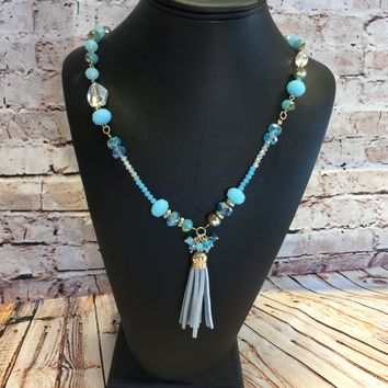 Leather Tassel Necklace: Blue