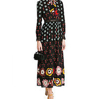 RED Valentino - Printed Silk Chiffon Dress with Lace