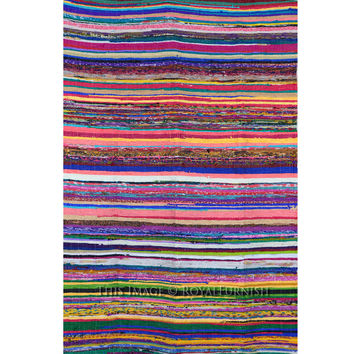 "3.6"" X 6.5"" ft. Multicolor Recycled Cotton Chindi Rug Rug/Floor Mat on RoyalFurnish.com"