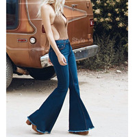 New Brand Jeans Women Flare Retro Style Bell Bottom Skinny Jeans Female Dark Blue Wide Leg Women Denim Pants