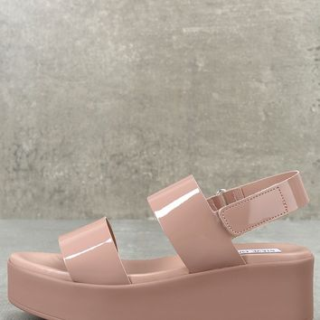 Rachel Dark Blush Patent Leather Flatform Sandals