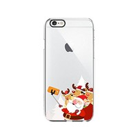 Cute Santa Claus And Reindeer Selfie Merry Christmas Transparent Silicone Plastic Phone Case for iphone 7 _ LOKIshop (iphone 7)