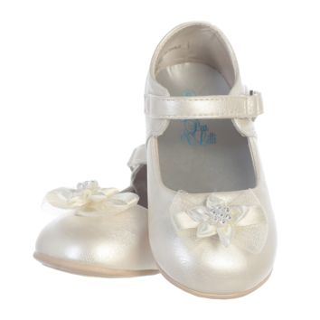 Ivory Dress Shoes with Rhinestone Centered Flower on the Toe & Velcro Closure (Baby Girls)