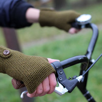 Hand Crochet brown - green color (moss color) Gloves with Buttons. Arm Warmers. Gift for her or him.