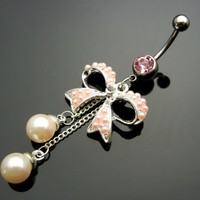 TC566 - Butterfly Bow Dangle 316L Steel Navel Belly Ring Body Piercing Jewelry