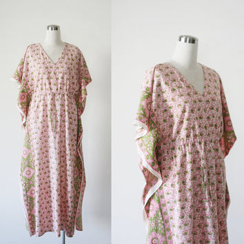 1970's vintage Indian gauze cotton boho caftan dress, hippie festival Woodstock kaftan