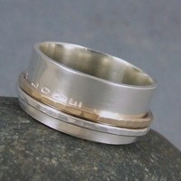 Spinner ring Forever Love in Silver and 10k gold with inscription | TwoSilverMoons - Jewelry on ArtFire
