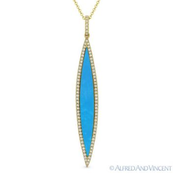 0.99ct Blue Turquoise & Diamond Pave Pendant & Chain Necklace in 14k Yellow Gold