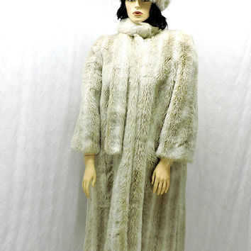 Faux fur coat / pill box hat / size L / XL / vintage 1950s cream / full length plush faux fur / mid-century 50s long faux fur coat and hat