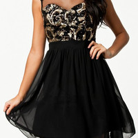 Black Sequined Mesh Paneled Dress