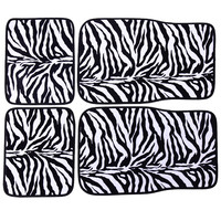 Adeco 4-Piece Car Vehicle Universal Floor Mats, Carpeted, Zebra Print