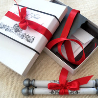 Elegant Boxed Wedding Invitation Fabric Scroll Suite in Black and White with Antique Damask, Red and Silver Accents, with reply card and envelope, extra insert, mailer and mailing label