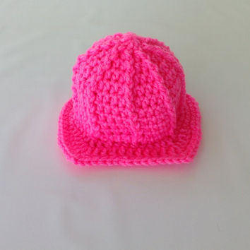 Baby Girl Firefighter Fireman Hat Helmet - Photography Prop - Newborn - 0-3 - 3-6 - 6-9 - 9-12 - Crochet Firefighter Fireman Hat Helmet