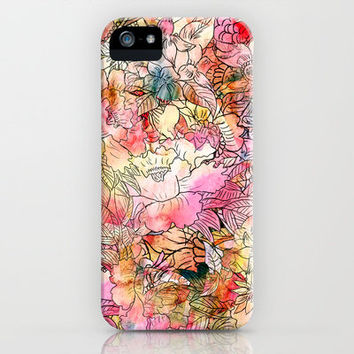 Summer Flowers | Colorful Watercolor Floral Pattern Abstract Sketch iPhone & iPod Case by Girly Trend