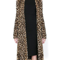 Dark Leopard Single Breasted Faux Fur Longline Coat
