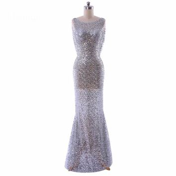 Boat Neck Sheer Sequins Lace Women Formal Gowns Backless Long Mermaid Evening Dresses