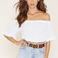 Crepe Off-the-Shoulder Crop Top | Forever 21 - 2000153656