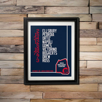 2013 World Series Champions - Boston Red Sox Fenway Park Game 6 Starting Line Up 16X20 Poster
