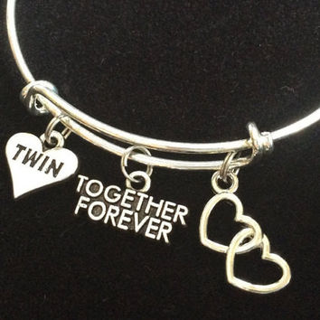 Twins Together Forever Double Hearts Expandable Charm Bracelet Adjustable Bangle Inspirational Meaningful