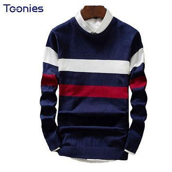 2017 Autumn Sweater Men Long Sleeve Striped Masculino Sueter Hombre Pull Homme Male Pullovers Jaqueta Masculino Slim Knitwear