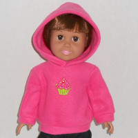 American Girl Doll Clothes Hot Pink Fleece Hoodie Sweatshirt with Cupcake Applique fits 18 inch dolls