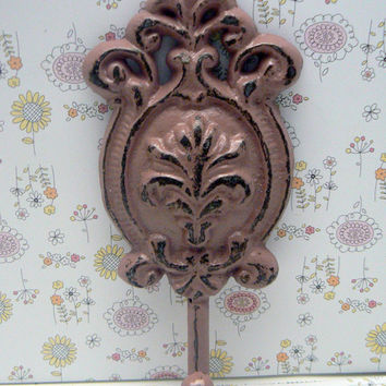 Ornate Floral Cast Iron Dusty Rose Blush Wall Oval Hook Cottage Shabby Chic Nautical Leash Jewelry Coat Hat Keys Bathroom Key Towel Hook